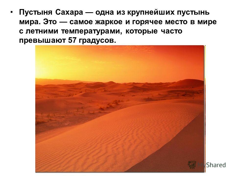 Пустыня Сахара одна из крупнейших пустынь мира. Это самое жаркое и горячее место в мире с летними температурами, которые часто превышают 57 градусов.