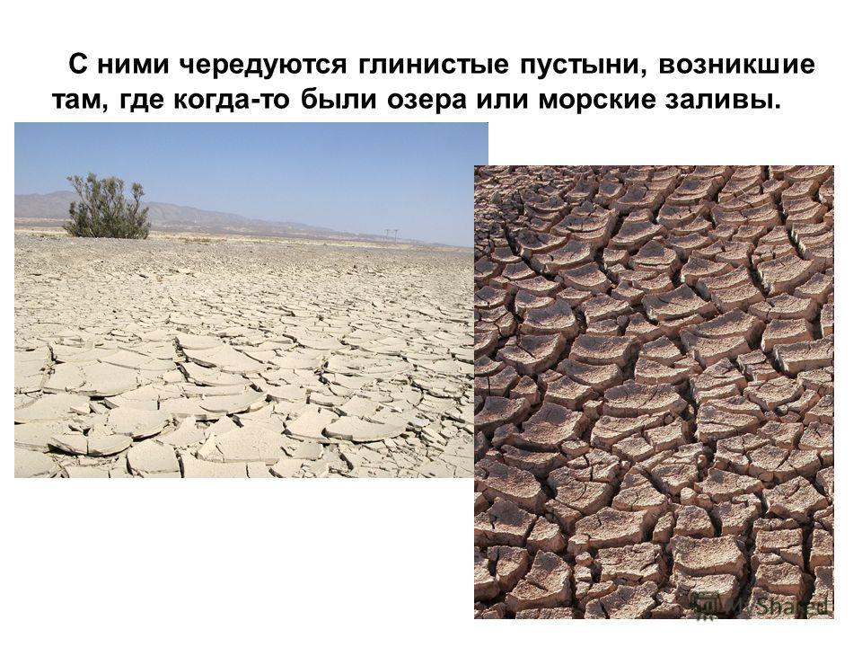 С ними чередуются глинистые пустыни, возникшие там, где когда-то были озера или морские заливы.