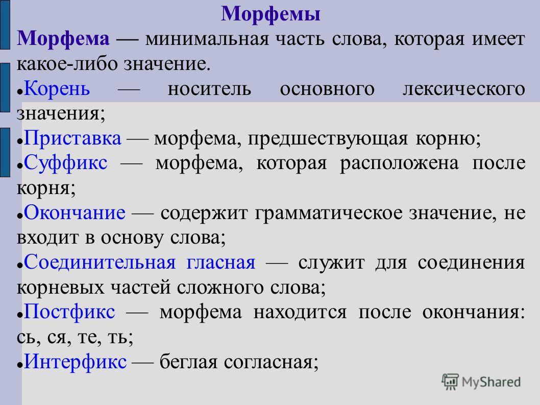 Морфемы Морфема минимальная часть слова, которая имеет какое-либо значение. Корень носитель основного лексического значения; Приставка морфема, предшествующая корню; Суффикс морфема, которая расположена после корня; Окончание содержит грамматическое