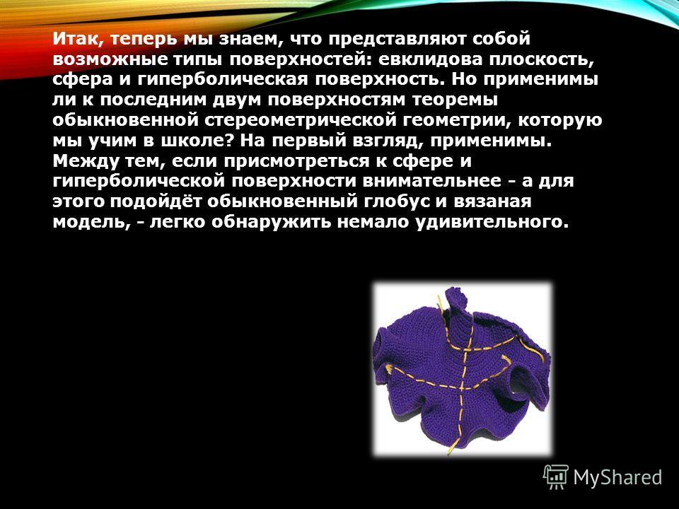 Итак, теперь мы знаем, что представляют собой возможные типы поверхностей: евклидова плоскость, сфера и гиперболическая поверхность. Но применимы ли к последним двум поверхностям теоремы обыкновенной стереометрической геометрии, которую мы учим в шко