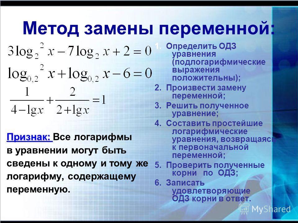 Метод замены переменной: Признак: Признак: Все логарифмы в уравнении могут быть сведены к одному и тому же логарифму, содержащему переменную. 1. Определить ОДЗ уравнения (подлогарифмические выражения положительны); 2. Произвести замену переменной; 3.
