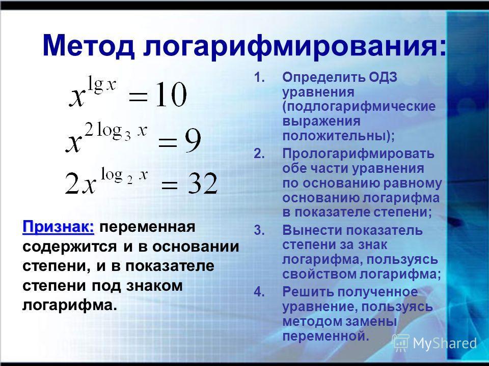 Метод логарифмирования: Признак: Признак: переменная содержится и в основании степени, и в показателе степени под знаком логарифма. 1.Определить ОДЗ уравнения (подлогарифмические выражения положительны); 2.Прологарифмировать обе части уравнения по ос