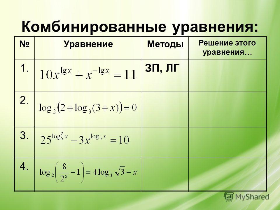 Комбинированные уравнения: УравнениеМетоды Решение этого уравнения… 1.ЗП, ЛГ 2. 3. 4.