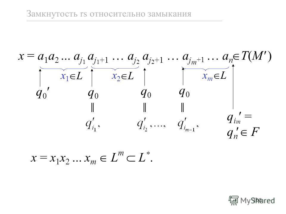 108 Замкнутость rs относительно замыкания x = a 1 a 2... a j 1 a j 1 +1 … a j 2 a j 2 +1 … a j m +1 … a n x1x1 x2x2 xmxm q 0 q0q0 q0q0 q0q0 T(M ) q i m = q n F L L L x = x 1 x 2... x m L m L *.