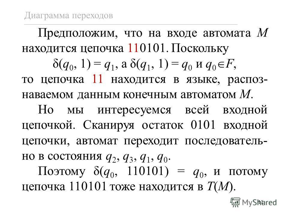 11 Предположим, что на входе автомата M находится цепочка 110101. Поскольку δ(q 0, 1) = q 1, а δ(q 1, 1) = q 0 и q 0 F, то цепочка 11 находится в языке, распоз- наваемом данным конечным автоматом M. Но мы интересуемся всей входной цепочкой. Сканируя