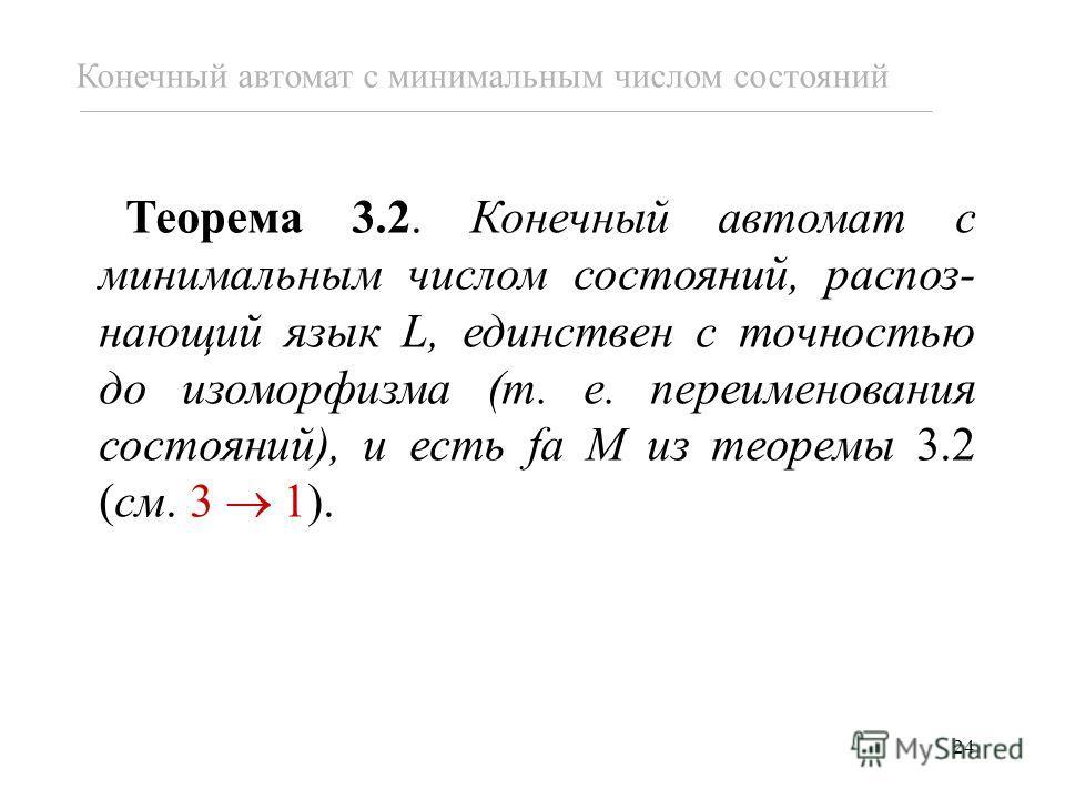 24 Теорема 3.2. Конечный автомат с минимальным числом состояний, распоз- нающий язык L, единствен с точностью до изоморфизма (т. е. переименования состояний), и есть fa M из теоремы 3.2 (см. 3 1). Конечный автомат с минимальным числом состояний
