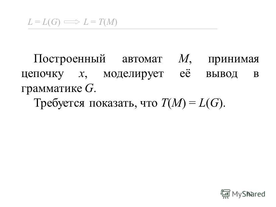 62 Построенный автомат M, принимая цепочку x, моделирует её вывод в грамматике G. Требуется показать, что T(M) = L(G). L = L(G) L = T(M)
