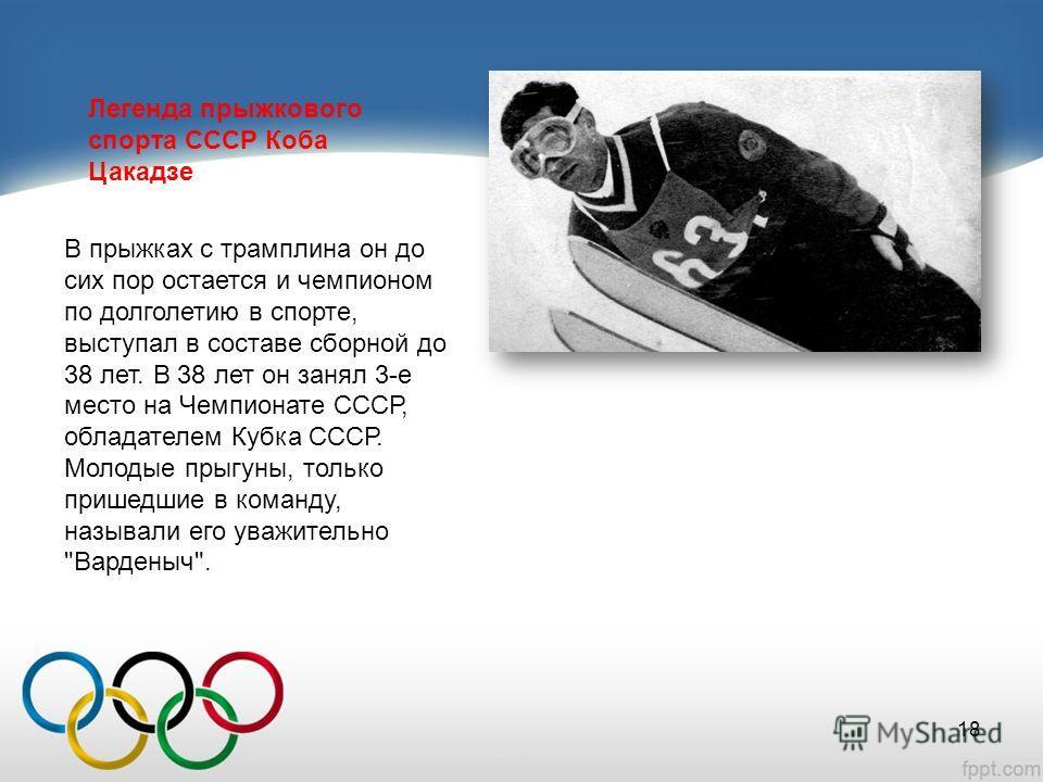 Легенда прыжкового спорта СССР Коба Цакадзе В прыжках с трамплина он до сих пор остается и чемпионом по долголетию в спорте, выступал в составе сборной до 38 лет. В 38 лет он занял 3-е место на Чемпионате СССР, обладателем Кубка СССР. Молодые прыгуны