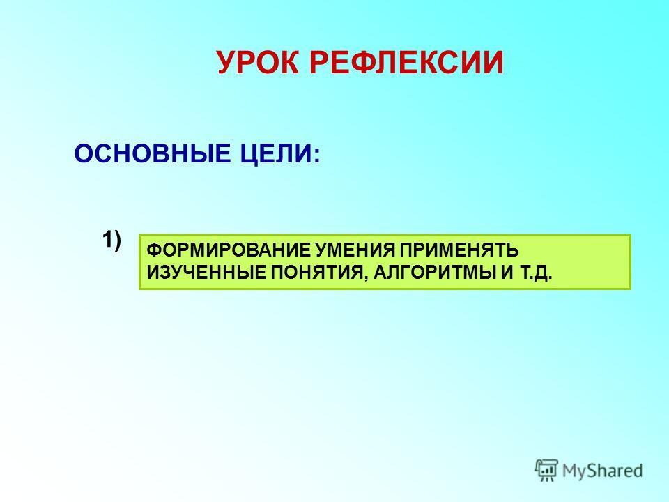 УРОК РЕФЛЕКСИИ ОСНОВНЫЕ ЦЕЛИ: ФОРМИРОВАНИЕ УМЕНИЯ ПРИМЕНЯТЬ ИЗУЧЕННЫЕ ПОНЯТИЯ, АЛГОРИТМЫ И Т.Д. 1)