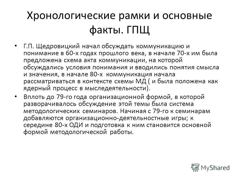 Хронологические рамки и основные факты. ГПЩ Г.П. Щедровицкий начал обсуждать коммуникацию и понимание в 60-х годах прошлого века, в начале 70-х им была предложена схема акта коммуникации, на которой обсуждались условия понимания и вводились понятия с