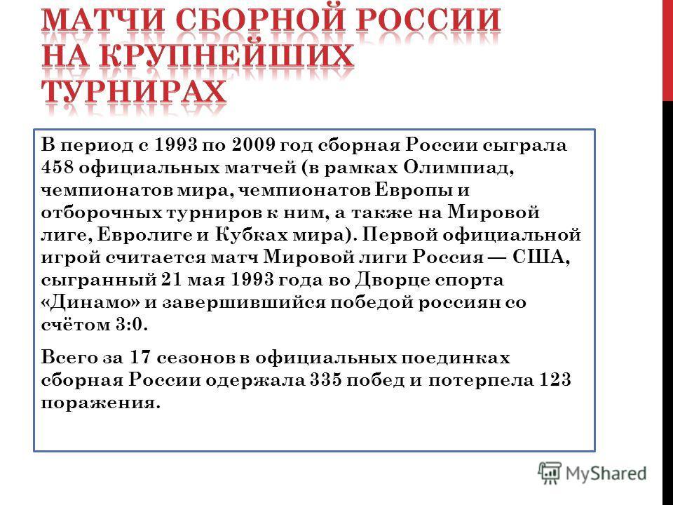 В период с 1993 по 2009 год сборная России сыграла 458 официальных матчей (в рамках Олимпиад, чемпионатов мира, чемпионатов Европы и отборочных турниров к ним, а также на Мировой лиге, Евролиге и Кубках мира). Первой официальной игрой считается матч