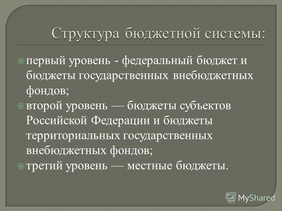 первый уровень - федеральный бюджет и бюджеты государственных внебюджетных фондов; второй уровень бюджеты субъектов Российской Федерации и бюджеты территориальных государственных внебюджетных фондов; третий уровень местные бюджеты.