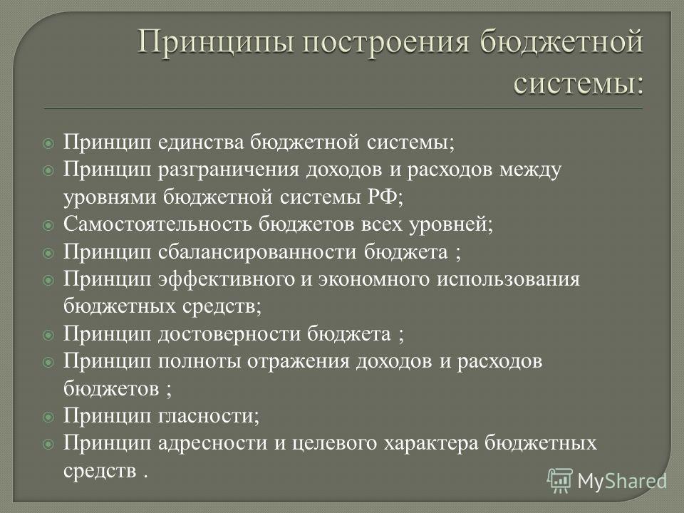 Принцип единства бюджетной системы; Принцип разграничения доходов и расходов между уровнями бюджетной системы РФ; Самостоятельность бюджетов всех уровней; Принцип сбалансированности бюджета ; Принцип эффективного и экономного использования бюджетных