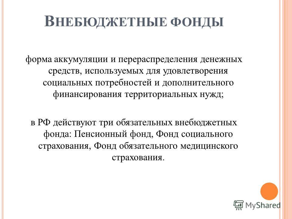 В НЕБЮДЖЕТНЫЕ ФОНДЫ форма аккумуляции и перераспределения денежных средств, используемых для удовлетворения социальных потребностей и дополнительного финансирования территориальных нужд; в РФ действуют три обязательных внебюджетных фонда: Пенсионный