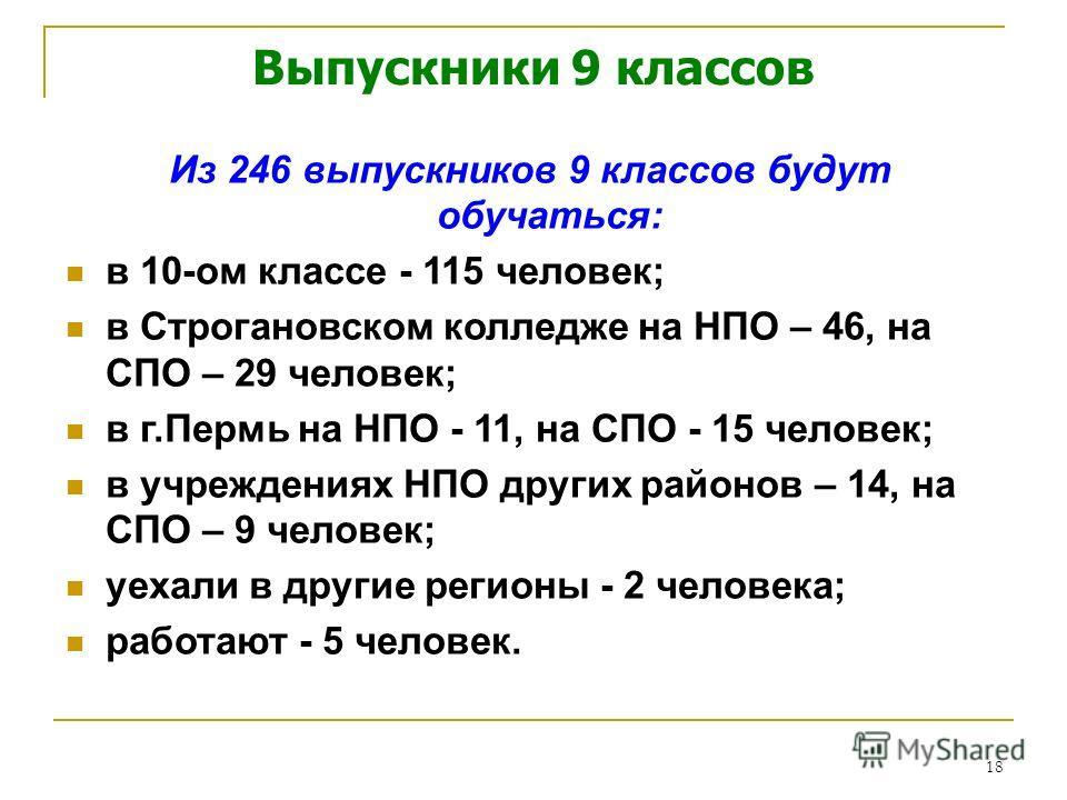 18 Из 246 выпускников 9 классов будут обучаться: в 10-ом классе - 115 человек; в Строгановском колледже на НПО – 46, на СПО – 29 человек; в г.Пермь на НПО - 11, на СПО - 15 человек; в учреждениях НПО других районов – 14, на СПО – 9 человек; уехали в