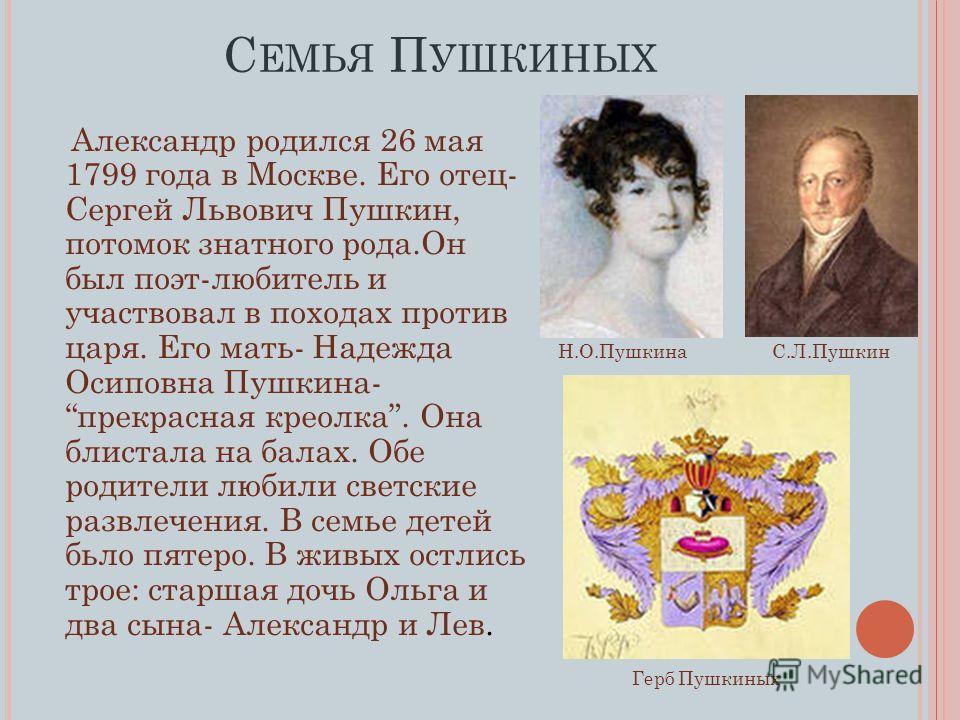 Александр родился 26 мая 1799 года в Москве. Его отец- Сергей Львович Пушкин, потомок знатного рода.Он был поэт-любитель и участвовал в походах против царя. Его мать- Надежда Осиповна Пушкина- прекрасная креолка. Она блистала на балах. Обе родители л