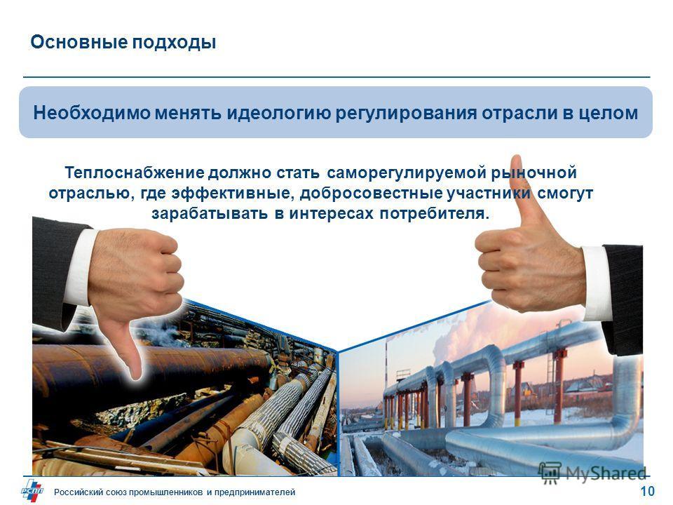 Российский союз промышленников и предпринимателей Основные подходы 10 Необходимо менять идеологию регулирования отрасли в целом Теплоснабжение должно стать саморегулируемой рыночной отраслью, где эффективные, добросовестные участники смогут зарабатыв