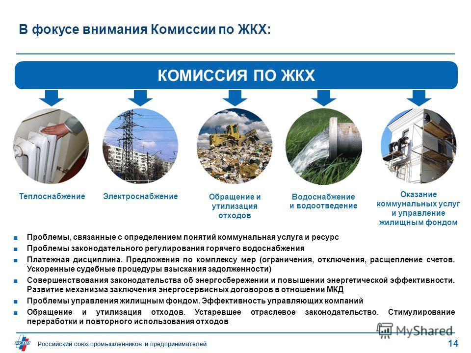 Российский союз промышленников и предпринимателей В фокусе внимания Комиссии по ЖКХ: Проблемы, связанные с определением понятий коммунальная услуга и ресурс Проблемы законодательного регулирования горячего водоснабжения Платежная дисциплина. Предложе