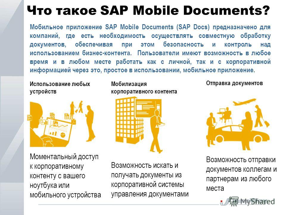 Что такое SAP Mobile Documents? Использование любых устройств Моментальный доступ к корпоративному контенту с вашего ноутбука или мобильного устройства Мобилизация корпоративного контента Возможность искать и получать документы из корпоративной систе