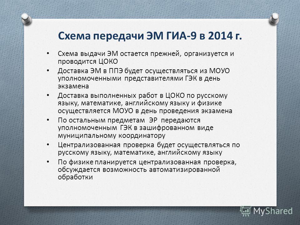Схема передачи ЭМ ГИА-9 в 2014 г. Схема выдачи ЭМ остается прежней, организуется и проводится ЦОКО Доставка ЭМ в ППЭ будет осуществляться из МОУО уполномоченными представителями ГЭК в день экзамена Доставка выполненных работ в ЦОКО по русскому языку,