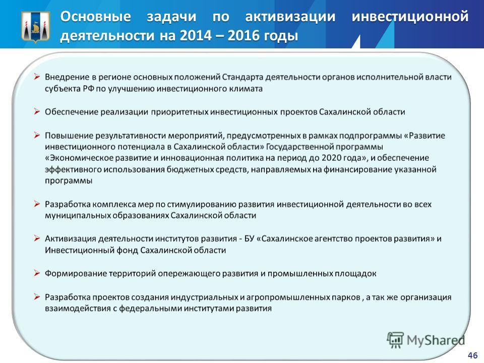 46 Основные задачи по активизации инвестиционной деятельности на 2014 – 2016 годы
