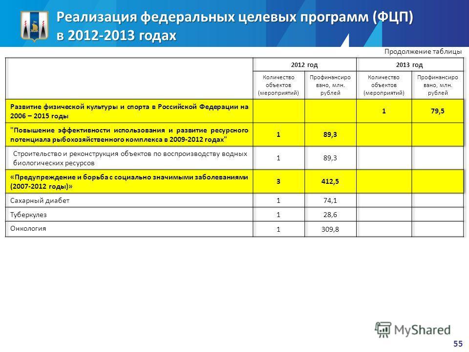 Реализация федеральных целевых программ (ФЦП) в 2012-2013 годах Продолжение таблицы 55