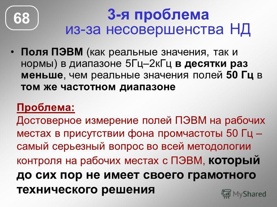 3-я проблема из-за несовершенства НД Поля ПЭВМ (как реальные значения, так и нормы) в диапазоне 5Гц–2кГц в десятки раз меньше, чем реальные значения полей 50 Гц в том же частотном диапазоне 68 Проблема: Достоверное измерение полей ПЭВМ на рабочих мес