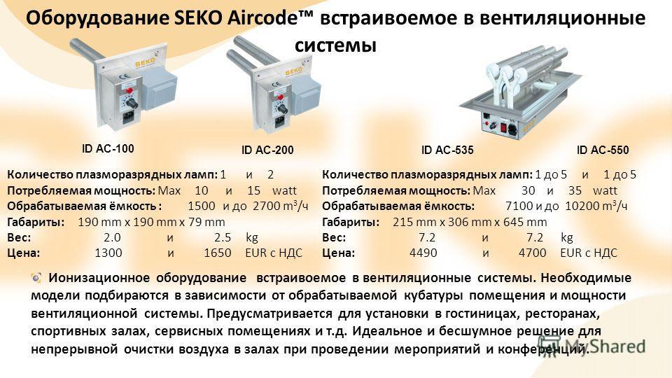 ID AC-100 ID AC-200 ID AC-535ID AC-550 Оборудование SEKO Aircode встраивоемое в вентиляционные системы Ионизационное оборудование встраивоемое в вентиляционные системы. Необходимые модели подбираются в зависимости от обрабатываемой кубатуры помещения