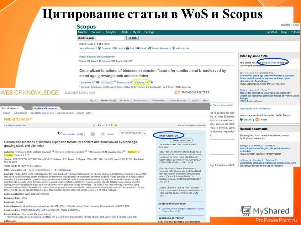 Цитирование статьи в WoS и Scopus