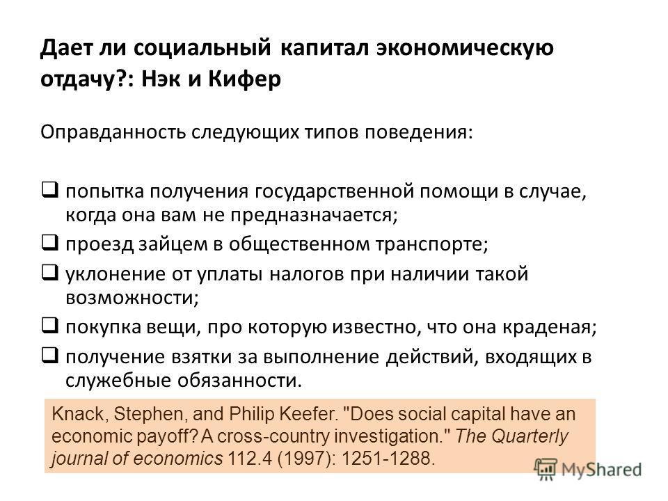 Дает ли социальный капитал экономическую отдачу?: Нэк и Кифер Оправданность следующих типов поведения: попытка получения государственной помощи в случае, когда она вам не предназначается; проезд зайцем в общественном транспорте; уклонение от уплаты н