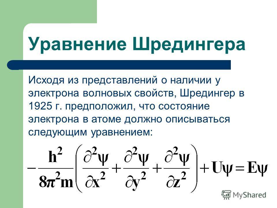 Уравнение Шредингера Исходя из представлений о наличии у электрона волновых свойств, Шредингер в 1925 г. предположил, что состояние электрона в атоме должно описываться следующим уравнением: