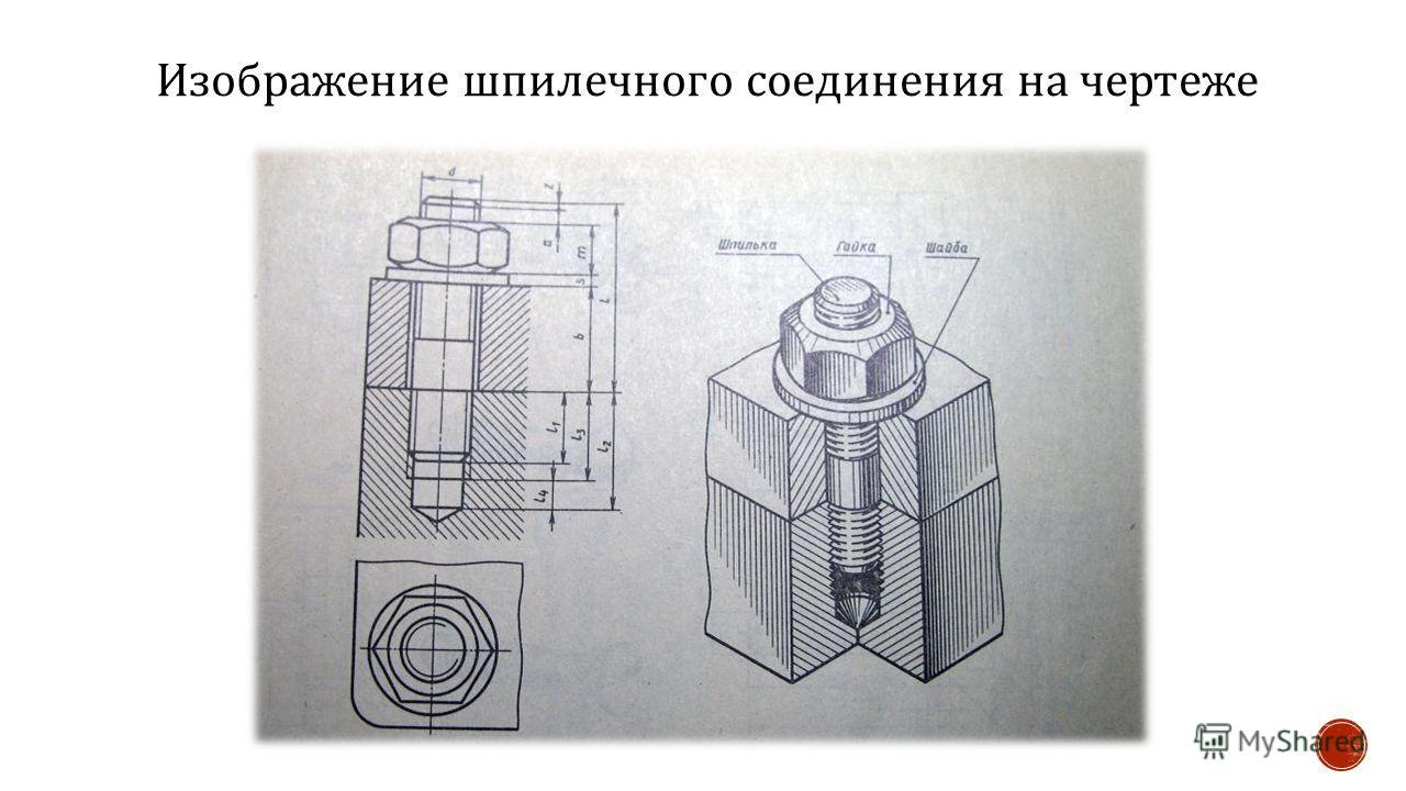 Изображение шпилечного соединения на чертеже