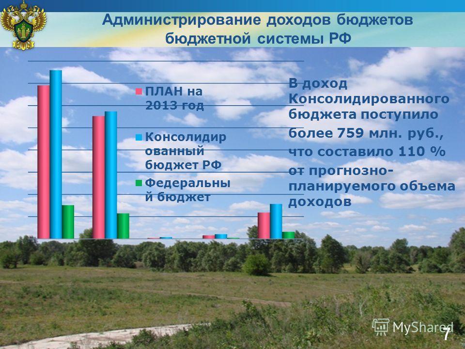 В доход Консолидированного бюджета поступило более 759 млн. руб., что составило 110 % от прогнозно- планируемого объема доходов Администрирование доходов бюджетов бюджетной системы РФ 7
