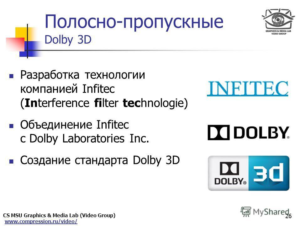 CS MSU Graphics & Media Lab (Video Group) www.compression.ru/video/ Only for Maxus Полосно-пропускные Dolby 3D Разработка технологии компанией Infitec (Interference filter technologie) Объединение Infitec с Dolby Laboratories Inc. Создание стандарта