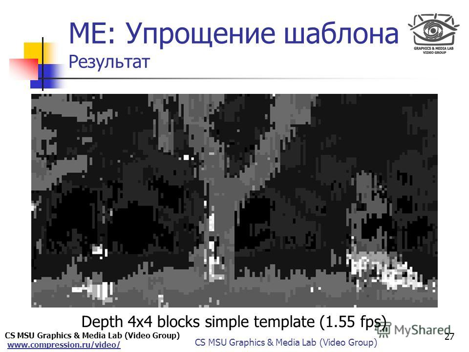 CS MSU Graphics & Media Lab (Video Group) www.compression.ru/video/ Only for Maxus ME: Упрощение шаблона Результат Depth 4x4 blocks simple template (1.55 fps) 27 CS MSU Graphics & Media Lab (Video Group)