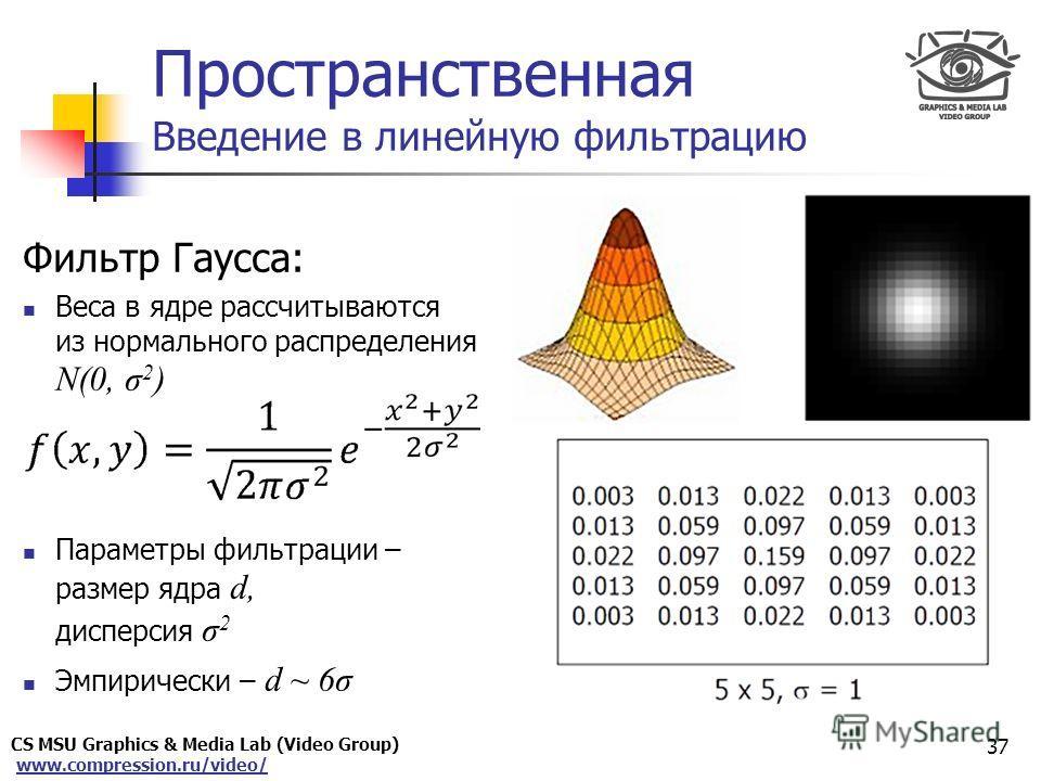 CS MSU Graphics & Media Lab (Video Group) www.compression.ru/video/ Only for Maxus Пространственная Введение в линейную фильтрацию 37 Фильтр Гаусса: Веса в ядре рассчитываются из нормального распределения N(0, σ 2 ) Параметры фильтрации – размер ядра