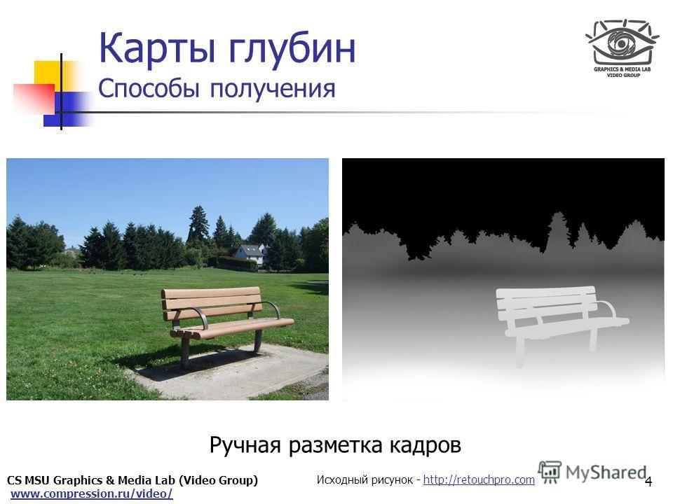 CS MSU Graphics & Media Lab (Video Group) www.compression.ru/video/ Only for Maxus Карты глубин Способы получения Ручная разметка кадров 4 Исходный рисунок - http://retouchpro.comhttp://retouchpro.com