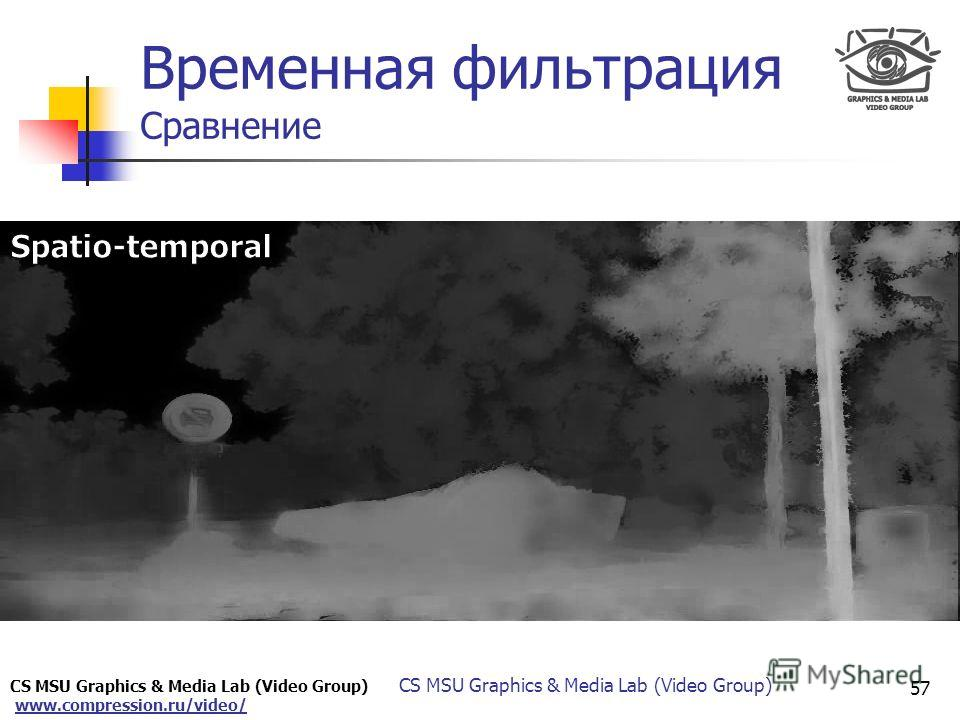 CS MSU Graphics & Media Lab (Video Group) www.compression.ru/video/ Only for Maxus 57 CS MSU Graphics & Media Lab (Video Group) Временная фильтрация Сравнение