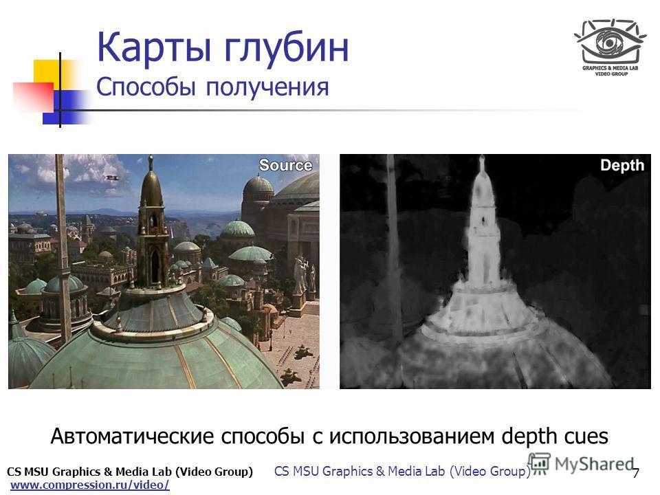 www.compression.ru/video/ Only for Maxus Карты глубин Способы получения Автоматические способы с использованием depth cues 7 CS MSU Graphics & Media Lab (Video Group)
