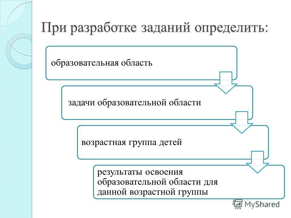 При разработке заданий определить: