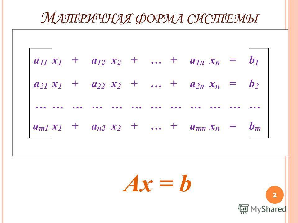 М АТРИЧНАЯ ФОРМА СИСТЕМЫ 2 Ax = b a 11 x1x1 +a 12 x2x2 +…+a 1n xnxn =b1b1 a 21 x1x1 +a 22 x2x2 +…+a 2n xnxn =b2b2 ……………………………… a m1 x1x1 +a n2 x2x2 +…+a mn xnxn =bmbm