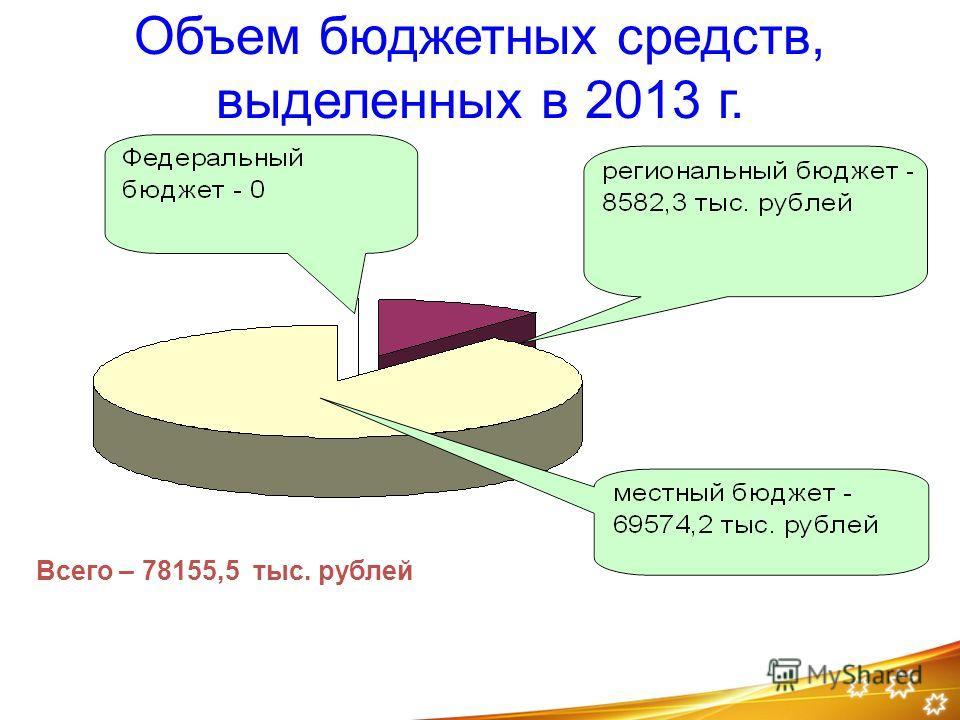 Объем бюджетных средств, выделенных в 2013 г. Всего – 78155,5 тыс. рублей