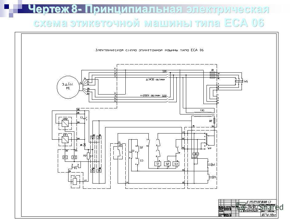 Чертеж8- Принципиальная электрическая Чертеж 8- Принципиальная электрическая схема этикеточной машины типа ЕСА 06