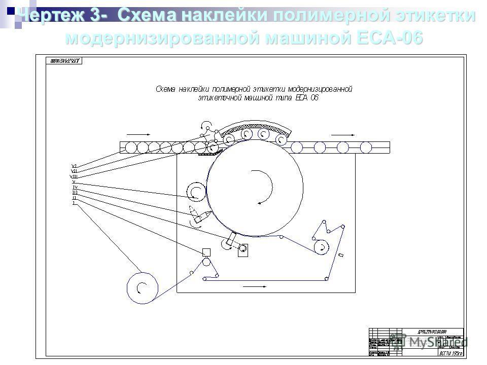 Чертеж3- Схема наклейки полимерной этикетки модернизированной машиной ЕСА-06 Чертеж 3- Схема наклейки полимерной этикетки модернизированной машиной ЕСА-06