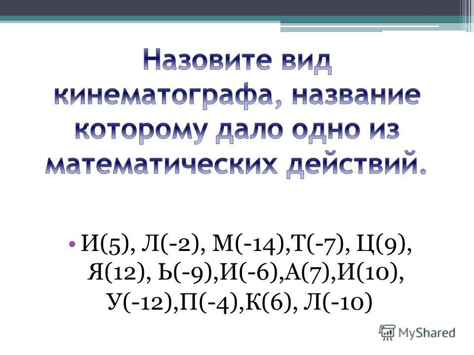 И(5), Л(-2), М(-14),Т(-7), Ц(9), Я(12), Ь(-9),И(-6),А(7),И(10), У(-12),П(-4),К(6), Л(-10)