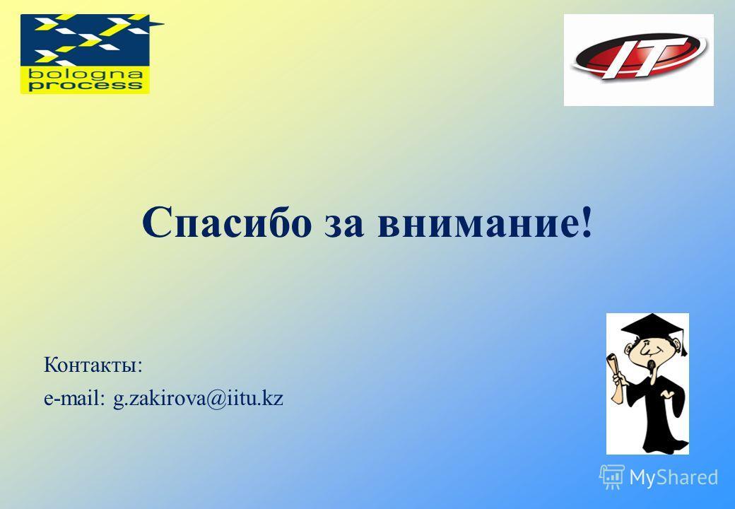 Спасибо за внимание! Контакты: е-mail: g.zakirova@iitu.kz