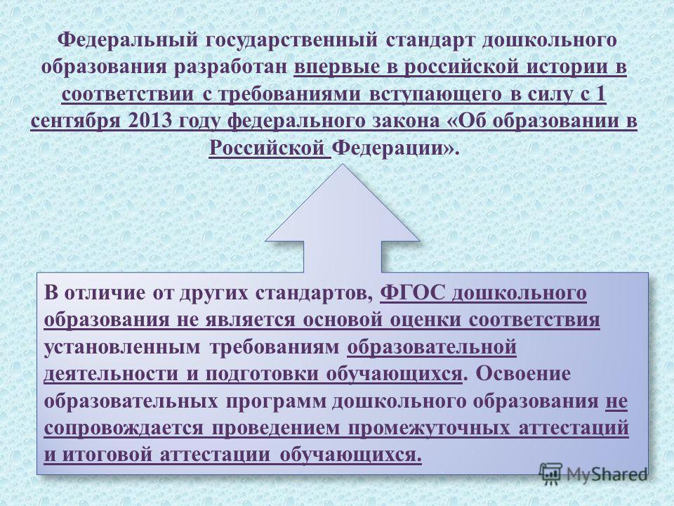 Федеральный государственный стандарт дошкольного образования разработан впервые в российской истории в соответствии с требованиями вступающего в силу с 1 сентября 2013 году федерального закона « Об образовании в Российской Федерации ». В отличие от д