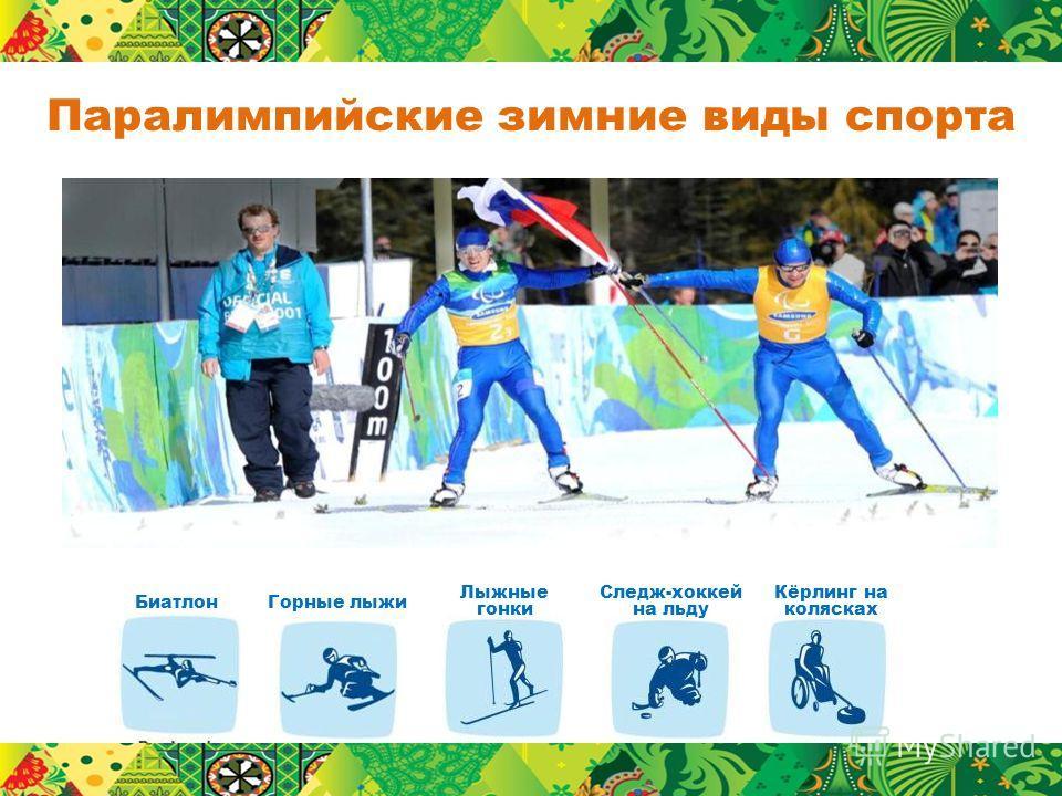 Паралимпийские зимние виды спорта Горные лыжи Лыжные гонки Биатлон Кёрлинг на колясках Следж-хоккей на льду