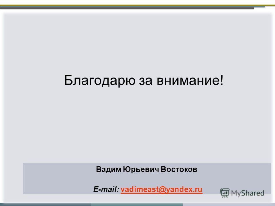 Вадим Юрьевич Востоков E-mail: vadimeast@yandex.ru Благодарю за внимание!