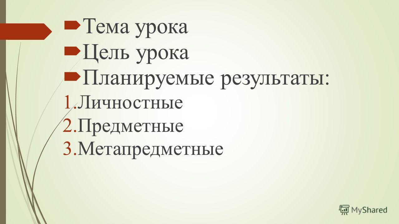 Тема урока Цель урока Планируемые результаты: 1.Личностные 2.Предметные 3.Метапредметные
